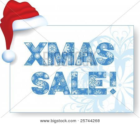 """xmas sale"" banner with Santa's hat, vector"