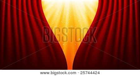 Red curtains and light, vector