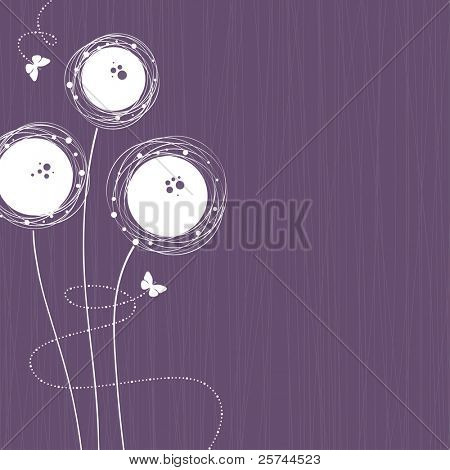 Cute background with flowers and butterflies, vector