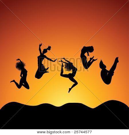 people jumping over the sky, vector