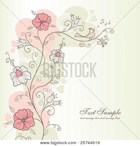 projeto Primavera com flores e pássaros cantando, vetor