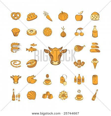 set of vector icons, food topic