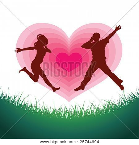 man and woman in love run towards each other talking by mobile phones, vector