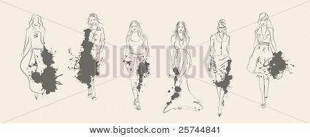 las mujeres de moda diseñador estilo sketch