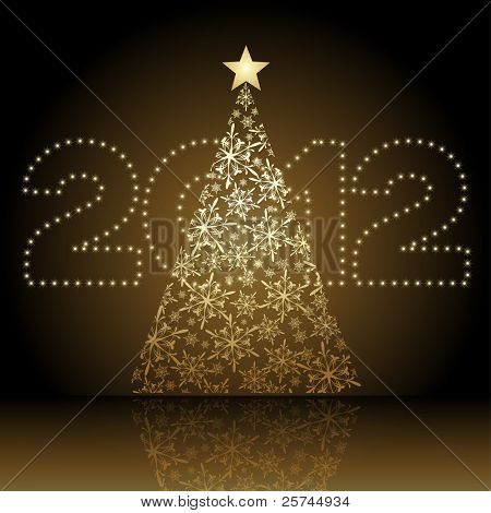 2012 vector Christmas tree, numbers and the tree on separate layers