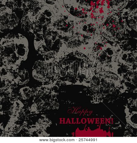 creepy halloween card over seamless pattern with faded skulls