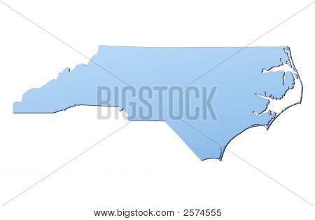 North carolina(usa) Karte mit leichten blauen Gradienten gefüllt