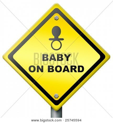 baby on board, sign warning for presence of baby in car or vehicle, drive safe, yellow diamond icon safety sticker