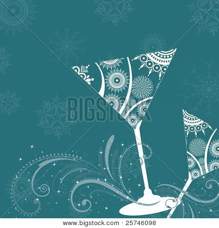 modern design champagne glass on creative floral pattern in sky blue color for party, Christmas, New Year & other occasions.