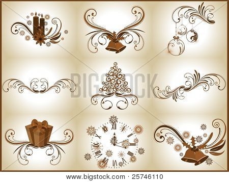A set of beautiful vector gift like clock, jingle bell, Christmas ball,Christmas tree & candles on floral decorative abstraction background for New Year, Christmas & other occasions.