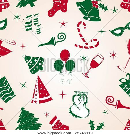 Christmas elements on seamless patterns like  jingle bells, candy canes, tree, caps, wine glass, balloon, Santa bag, toy, spiral, stars, party mask with decoration for Christmas & other occasions.