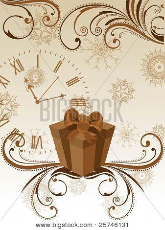 Vektor-Grußkarte mit Geschenk-Box & Uhr in hellbraune Farbe mit Blumen dekorativ Abstraktion b