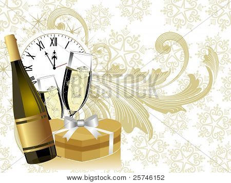 New year theme with champagne bottle & glass having gift box & clock on light golden floral background for Christmas & other occasions.