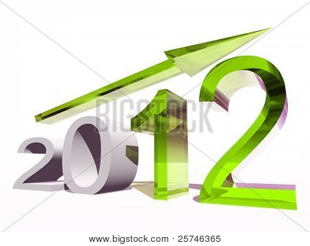 High resolution conceptual 2012 year as a graphic with a green arrow isolated on white background