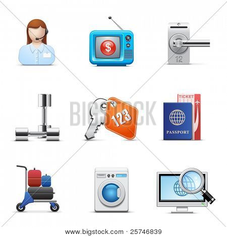 Hotel business icon set