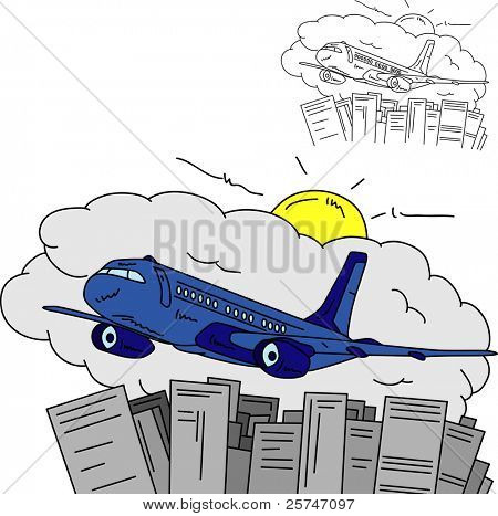 vector - Airplane over town , isolated on background
