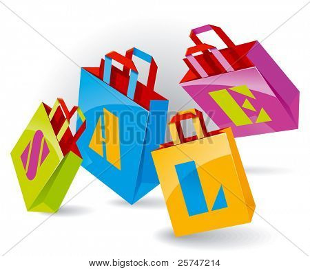 "Paper Bags for shopping with ""SALE"" inscription. Vector Illustration"