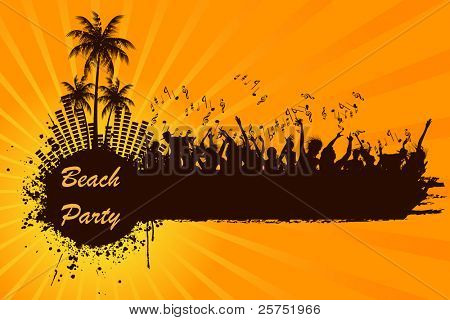 illustration of cheering crowd at beach party