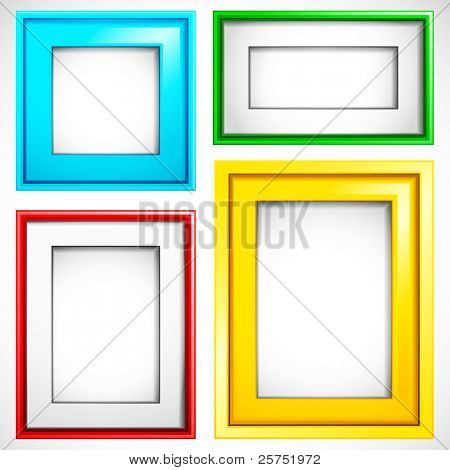 illustration of set of colorful empty frame in different shape