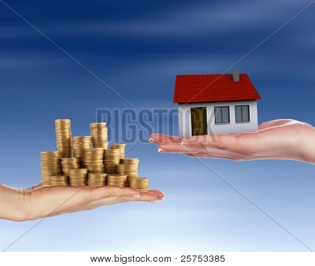 Collage with human hands and house against blue sky