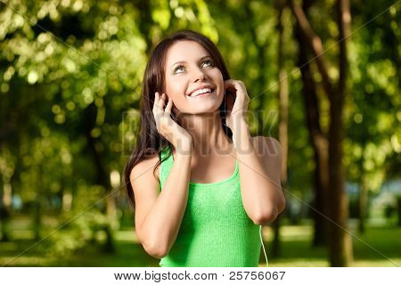 happy woman listening the music