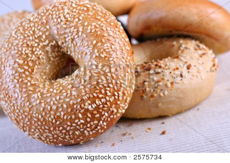 Fresh Baked Bagels Close-Up