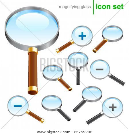 vector magnifying glass icons