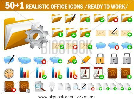 vector realistic office icons (ready to use)