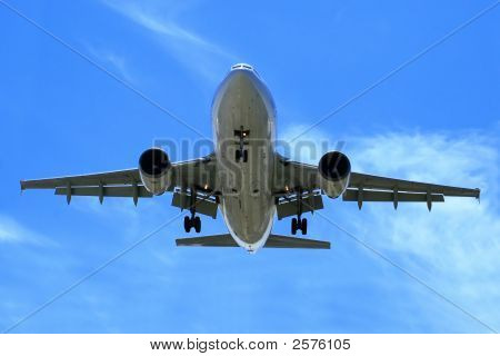 Airliner Makes Its Landing Approach.