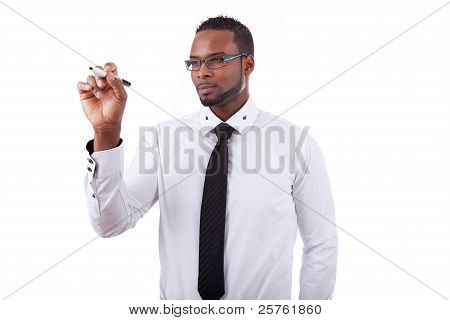African American Business Man  Writing Something On Glass Board With A Marker