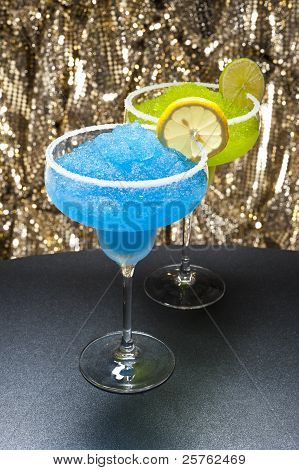 Classic Margarita And A Blue Margarita Cocktail