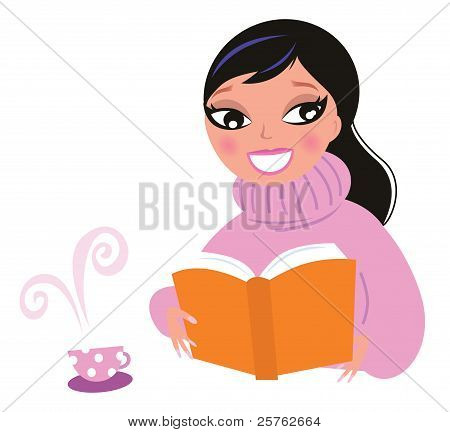 Cute Woman In Warm Pullower Drinking Coffee While Reading Book..