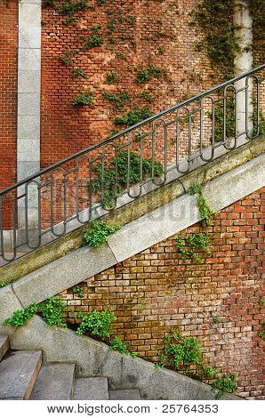 Brick wall and stairs background