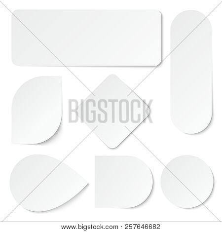 White Paper Stickers  Blank Labels, Tags In Rectangular And Round Shape   Isolated Vector Set  Advert poster
