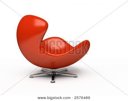 Leather Red Armchair (Side View) Isolated On White Background 3D Rendering