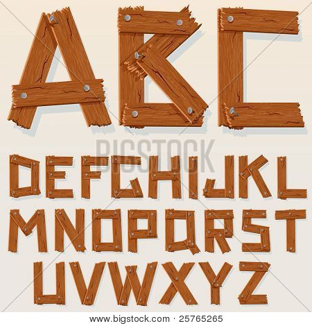 Rusty Grunge Wooden Alphabet, vector set with all letters for your text or design