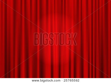 Vector closed red theater curtain