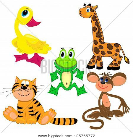 set of zoo animals.vector illustration. cute characters.