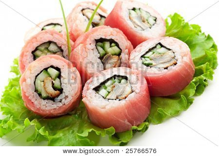 Tuna Maki Sushi - Roll made of Smoked Eel and Cucumber inside. Fresh Raw Tuna outside