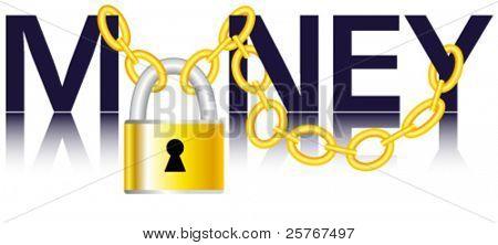 Money, chain and padlock