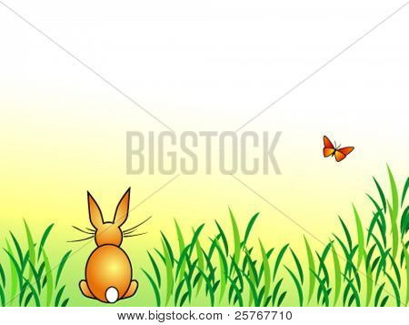 Bunny background - rabbit sitting in green grass with butterfly - cartoon Easter design - vector, eps10