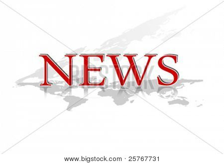 Word NEWS with world map against white background - red colored - vector, eps10