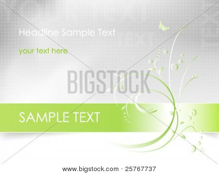 Abstract flower design - floral card background in white, green and light grey color - vector, eps10