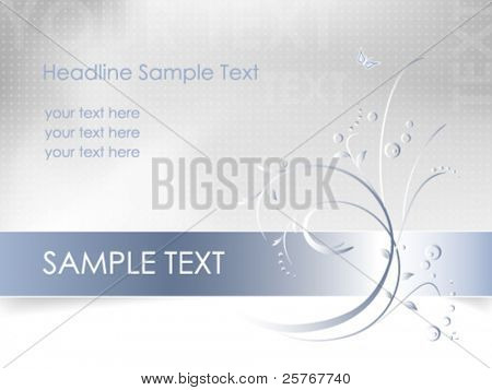 Floral background - abstract flower card design - white, blue, light gray - vector, eps10