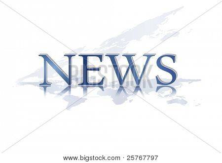 Word NEWS with world map against white background - blue colored