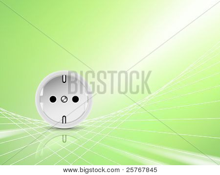 Green energy concept, eco design - white socket, outlet against abstract green shiny background - symbolic of eco friendly power