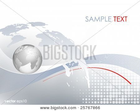 Silver 3d globe and world map - business background - light grey blue backdrop with lines and dots and gradient to white