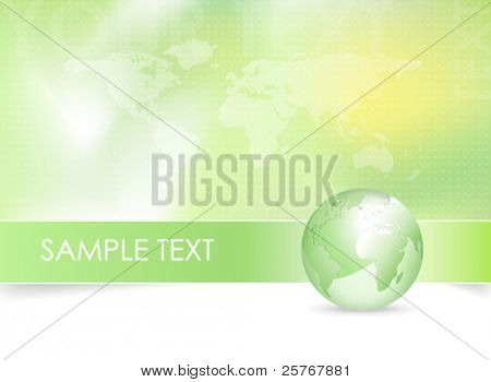 Eco background - green earth design with globe and world map - abstract vector business design