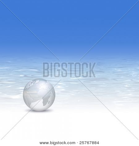 Globe at the beach with crystal clear water background - travel industry, tourism and clean world concept