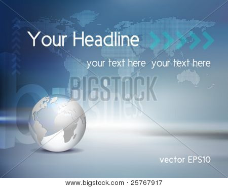 Vector business background - light silver grey 3d globe and dotted world map with blue shiny backdrop